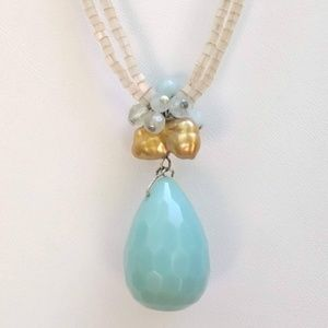 david aubrey Jewelry - Blue stone pendant necklace with glass seed beads